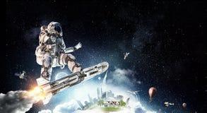 飞行委员会的太空人 混合画法 库存照片