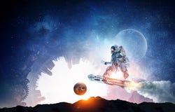 飞行委员会的太空人 混合画法 库存图片