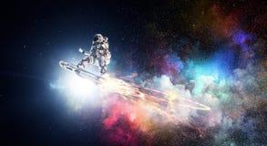 飞行委员会的太空人 混合画法 免版税库存照片