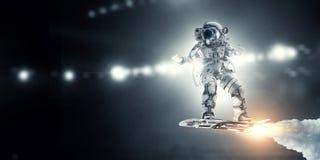 飞行委员会的太空人 混合画法 免版税库存图片