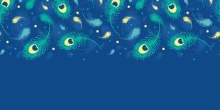 飞行孔雀用羽毛装饰传染媒介水平无缝 免版税库存图片