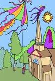 飞行孩子风筝的冒险 免版税图库摄影