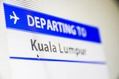 飞行屏幕特写镜头向吉隆坡,马来西亚 库存照片