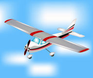 飞行平面天空小 免版税库存照片