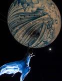 飞行我月亮 免版税库存图片