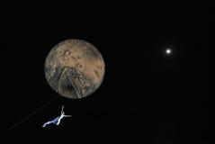 飞行我月亮 库存图片