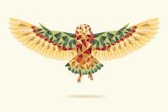 飞行抽象颜色的几何谷仓猫头鹰 免版税库存照片