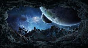 飞行接近行星3D此的翻译元素的小行星 皇族释放例证