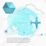 飞行旅行 在他的目的地路线的飞机 皇族释放例证
