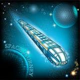 飞行有stary天空的空间火车 向量例证