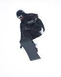 飞行查出的挡雪板 免版税图库摄影