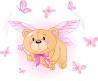 飞行桃红色女用连杉衬裤的熊 库存照片