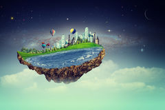 飞行海岛 与意想不到的海岛的Eco概念 免版税图库摄影