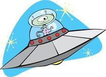 飞行火星的减速火箭的茶碟 库存图片