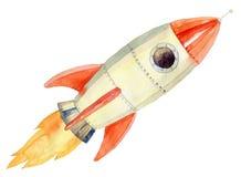 飞行火箭的例证 免版税库存照片