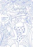 飞行物、邀请或者海报模板夏天党的与微笑的妇女拿着新热带饮料的游泳衣的画 库存例证