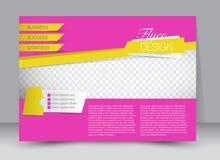 飞行物模板 企业小册子 设计的编辑可能的A4海报 库存照片
