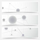 飞行物横幅模板-分子样式 免版税库存照片