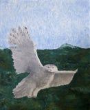 飞行猫头鹰的油画 库存照片