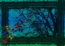 飞行由树决定的不可思议的蝴蝶 免版税库存照片