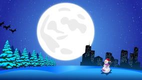 飞行由驯鹿的圣诞老人雪橇在城市和冰地面雪人 向量例证