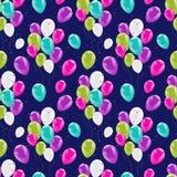 飞行的发光的气球五颜六色的无缝的样式 库存照片