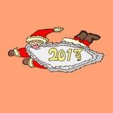 飞行的圣诞老人的剪影 库存图片