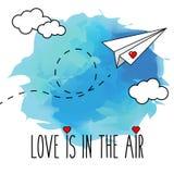 飞行的手拉的纸平面传染媒介例证,浪漫,华伦泰卡片 免版税库存照片