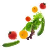 飞行的新鲜蔬菜 库存照片