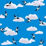 飞行的无缝的天空燕子 向量例证