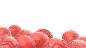 飞行的桃红色高科技桃红色时髦颜色球形 与3d几何形状的抽象背景 现代盖子设计 漂流 向量例证