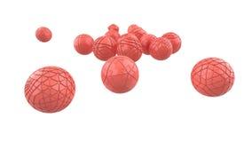 飞行的桃红色高科技桃红色时髦颜色球形 与3d几何形状的抽象背景 现代盖子设计 漂流 皇族释放例证