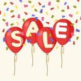 飞行的气球,销售的概念商店的平的样式的 色的五彩纸屑 四个红色飞行党气球隔绝与文本销售 免版税图库摄影