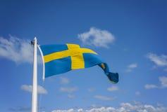 飞行的瑞典旗子 库存照片