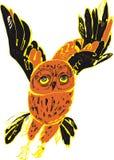飞行的红色猫头鹰 免版税图库摄影