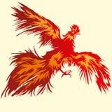 飞行的红色雄鸡 向量例证