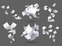落的纸板料 飞行的纸页、白色板料文件和空白文件页在风被隔绝的传染媒介 向量例证