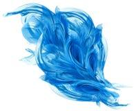 飞行的蓝色织品,挥动的流动的丝绸布料,振翼的Abstra 免版税库存图片
