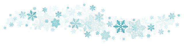 飞行的蓝色雪花和星边界 库存例证