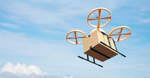 飞行空的工艺箱子的照片黄色普通设计现代遥控空气寄生虫在都市表面下 蓝色覆盖天空 免版税库存图片