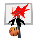 飞行篮球球的弹道在篮子和e的 库存照片