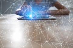 飞行网络球形3D背景 企业技术和互联网概念 免版税库存照片