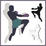 飞行膝盖泰拳 向量例证