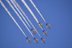 飞行表演喷气机 免版税库存照片