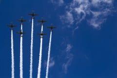 飞行表演空气游行在波兰 免版税库存图片