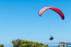 飞行象草的小山的澳大利亚滑翔伞在伟大的海洋 图库摄影