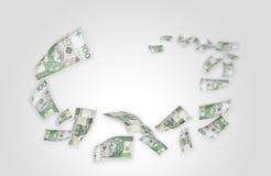 飞行货币pln的100个票据 免版税库存图片