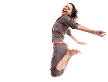 飞行跳的体育运动妇女 库存图片