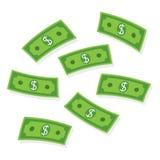 飞行金钱 纸钞票 皇族释放例证