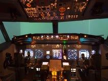 飞行防真器驾驶舱 免版税图库摄影